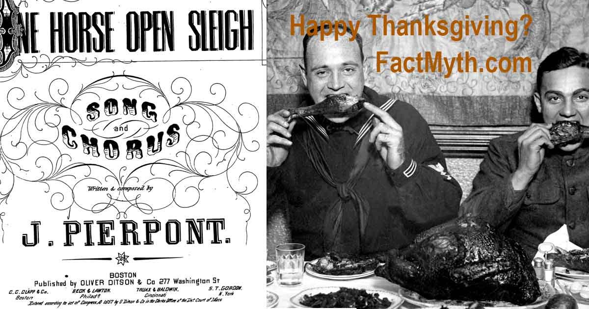 The original cover for Pierpont's published sheet music and an old photo of Americans eating a thanksgiving meal.