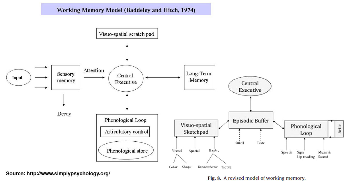 The Working Memory Model (Baddeley and Hitch, 1974) plus episodic buffer model (2000). Source.