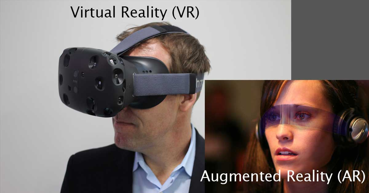 Virtual Reality attempts to create a completely artificial reality. Augmented Reality attempts to enhance the real environment a person is in.