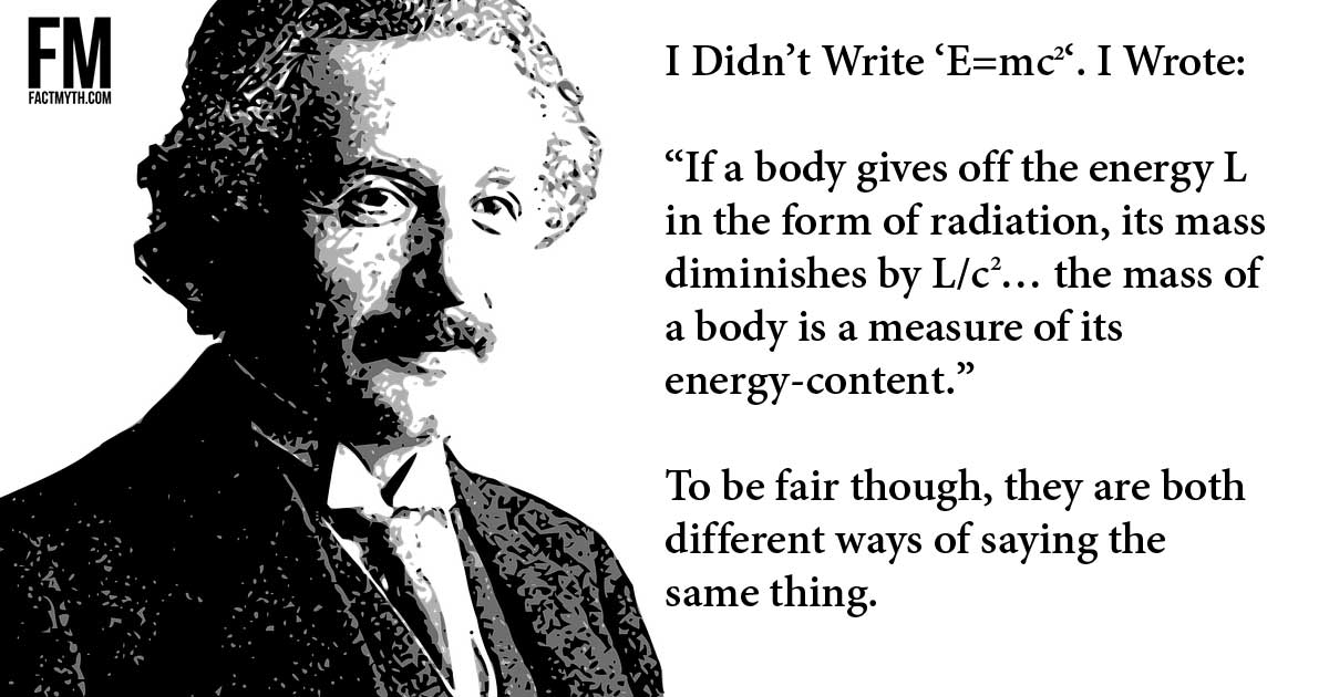 Einstein didn't write emc2