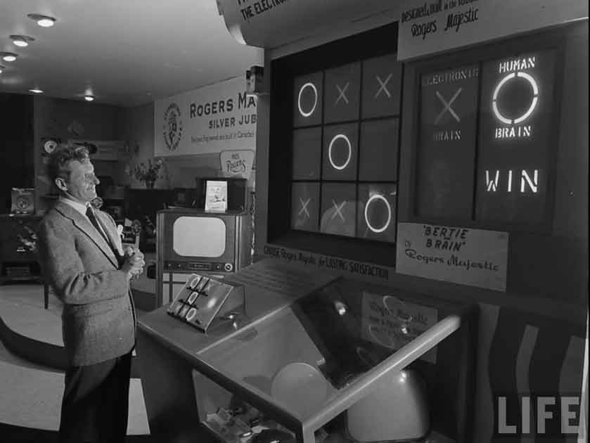 Danny Kaye plays the first video game.