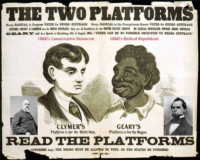 "Racist Hiester Clymer campaign poster from 1866 ""smearing"" the eventual winner Union general John W. Geary."