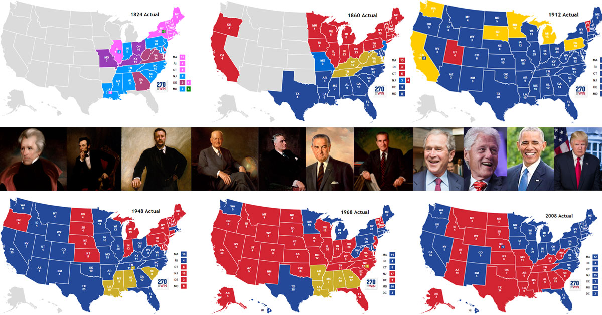 A Map Showing Realigning Elections And Presidents Who Represent Major Changes In The U S Parties We Can See Something Happened That Is Empirically