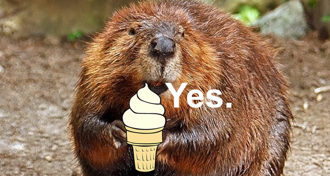 Beaver holding a vanilla ice cream, because beaver butt goo is sometimes used in artificial flavoring.